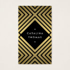 Retro Mod Bold Black and Gold Pattern Business Card