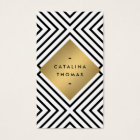 Retro Mod Bold Black and White Pattern Gold Emblem Business Card