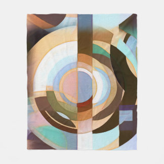 Retro Mod Brown and Blue Grapic Circle Pattern Fleece Blanket