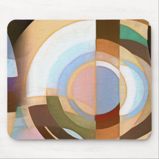 Retro Mod Brown and Blue Grapic Circle Pattern Mouse Mat