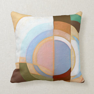 Retro Mod Brown and Blue Grapic Circle Pattern Throw Pillow