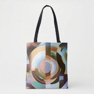 Retro Mod Brown and Blue Grapic Circle Pattern Tote Bag