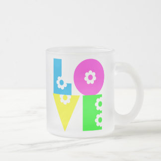 Retro Mod Flowered LOVE Frosted Glass Mug