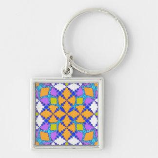 Retro Mod Geometric Orange and Purple Tile Pattern Key Chains