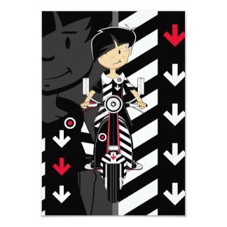Retro Mod Girl on Scooter RSVP Card 9 Cm X 13 Cm Invitation Card
