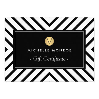 Retro Mod Gold Monogram Gift Certificate Card