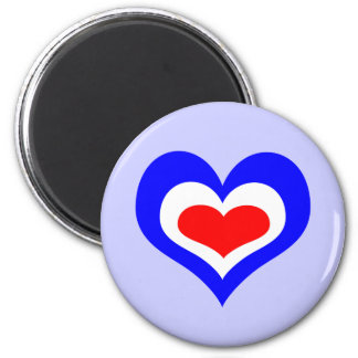 Retro Mod Heart 6 Cm Round Magnet