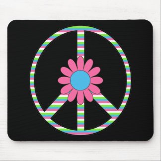 Retro Mod Hippie Peace Symbol Flower Tees Gifts Mousepad