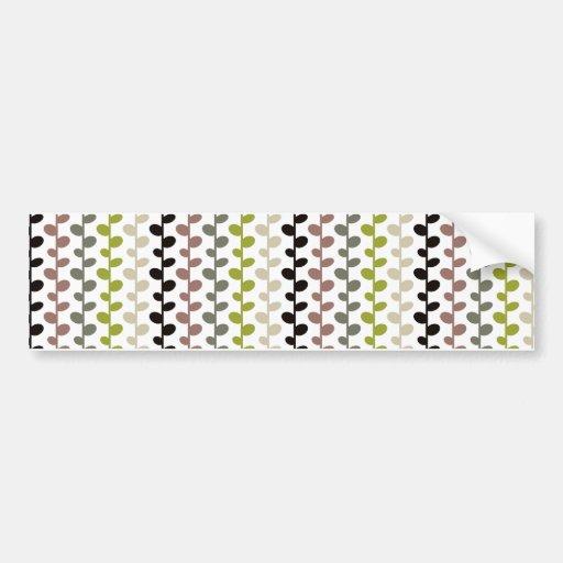 Retro Mod Multicolored Leaf Pattern Bumper Stickers