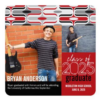 Retro Mod Ogee Red Pattern Graduation Grad Photo Personalized Invites