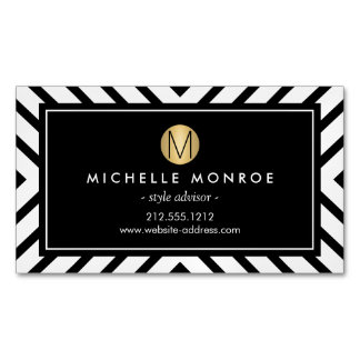 Retro Mod Pattern Gold Monogram Magnetic Magnetic Business Cards