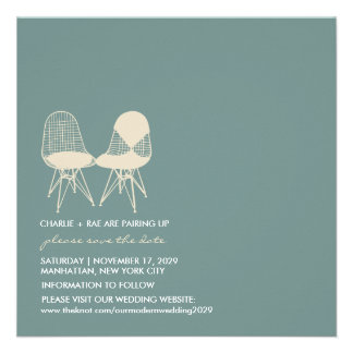 Retro Mod Perfect Chair Pair Eames Save The Date Personalized Invite