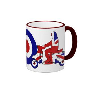 Retro Mod Scooter Boy UK Ringer Mug