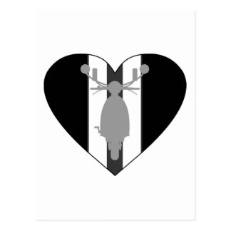 Retro Mod Scooter Heart Postcard