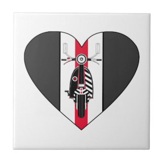 Retro Mod Scooter Heart Tile