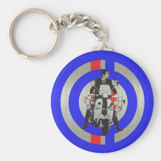 Retro Mod scooter rider metallic Key Ring