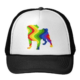 Retro Mod Wavy Rainbow Pug Trucker Hat