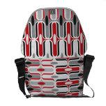 Retro Mod Zig Zag Pattern Red Black Art Bag