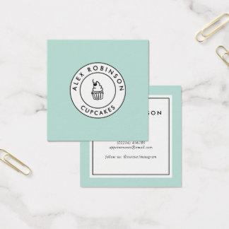 Retro modern blue cupcakes square business card