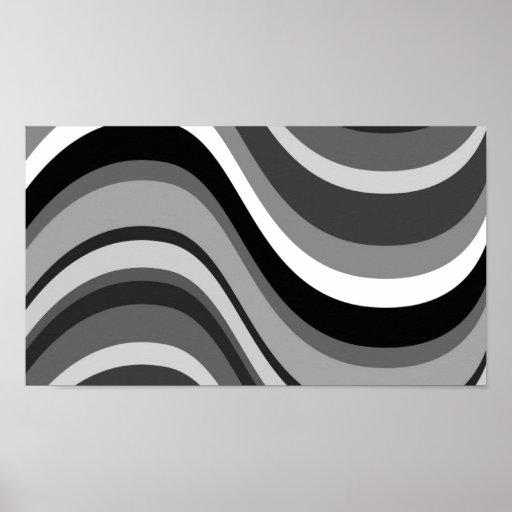 Retro modern curves, waves black grey, white, gift