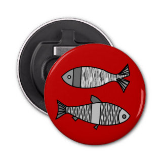 Retro Modern Fish, Deep Red and Gray / Grey Bottle Opener