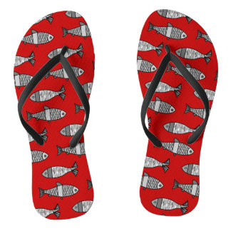 Retro Modern Fish, Deep Red and Gray / Grey Flip Flops