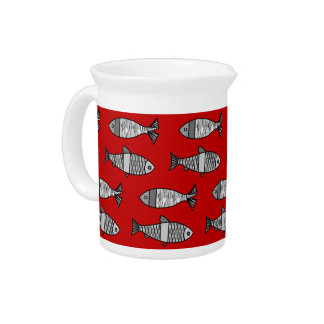 Retro Modern Fish, Deep Red and Gray / Grey Pitcher