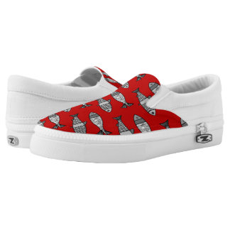 Retro Modern Fish, Deep Red and Gray / Grey Slip On Shoes
