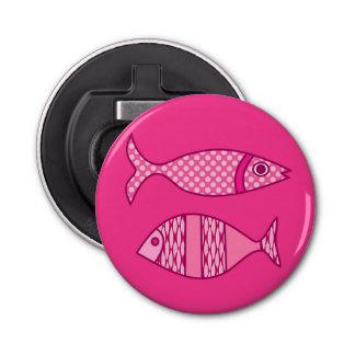 Retro Modern Fish, Fuchsia, Light Pink, Deep Pink Bottle Opener