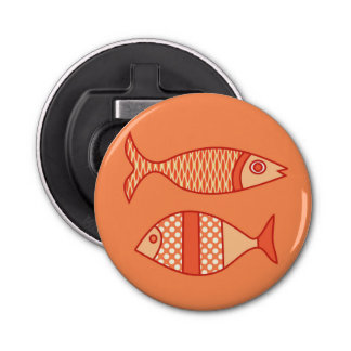 Retro Modern Fish, Light Coral Orange & Tangerine Bottle Opener