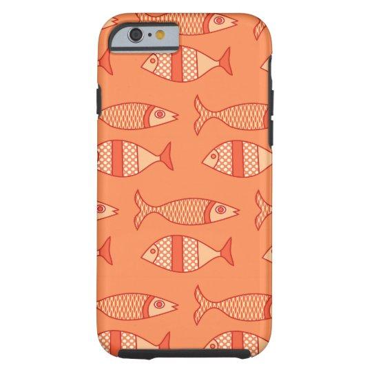 Retro Modern Fish, Light Coral Orange & Tangerine Tough iPhone 6 Case