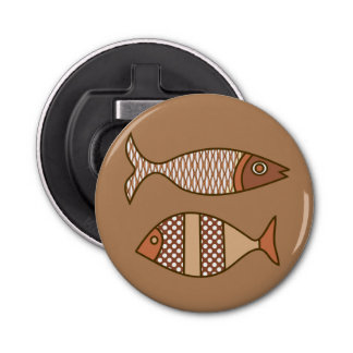 Retro Modern Fish, Tan, Beige and Light Brown Bottle Opener