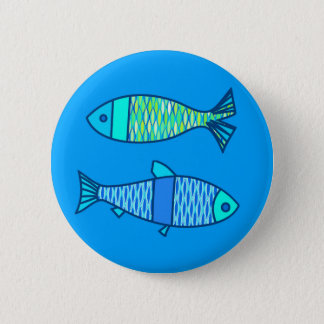 Retro Modern Fish, Turquoise and Cerulean Blue 6 Cm Round Badge