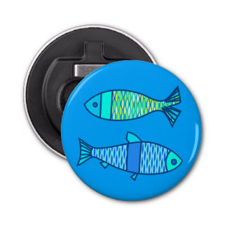 Retro Modern Fish, Turquoise and Cerulean Blue Bottle Opener