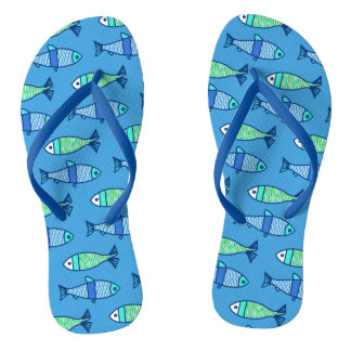 Retro Modern Fish, Turquoise and Cerulean Blue Flip Flops