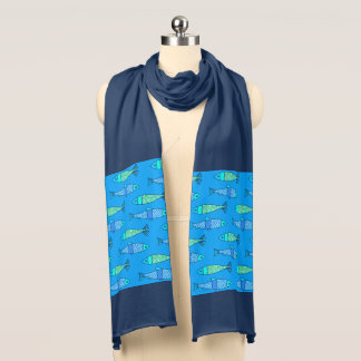 Retro Modern Fish, Turquoise and Cerulean Blue Scarf