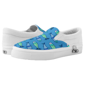 Retro Modern Fish, Turquoise and Cerulean Blue Slip On Shoes