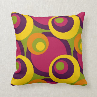 Retro Modern Geometric Circles Pattern Throw Pillow