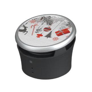 Retro Modern Red & Grey Christmas Ornaments Bluetooth Speaker
