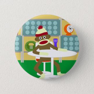 Retro Modern Sock Monkey 6 Cm Round Badge