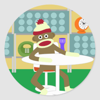 Retro Modern Sock Monkey Round Sticker