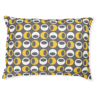 Retro Modern Spheres Pattern Dog Bed - Yellow/Gray