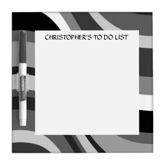 Retro modern waves, curves black, grey custom dry erase board