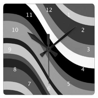 Retro modern waves, curves black grey, white, gift square wall clocks