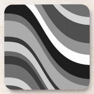 Retro modern waves, curves black grey, white, gift coaster