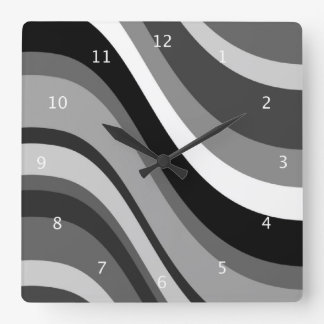 Retro modern waves, curves black grey, white, gift square wall clock