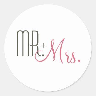 Retro Modern Wedding Envelope Seals Round Sticker