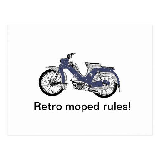 Retro moped postcard