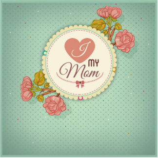 Retro mother's day flower pattern standing photo sculpture