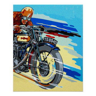 Retro motorcycle racer painting poster